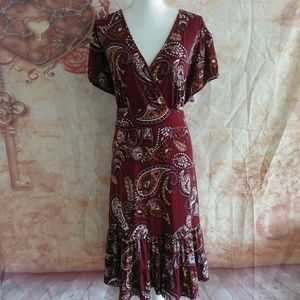 Apt 9 Womens Plus size dress 3x paisley tiered Tie